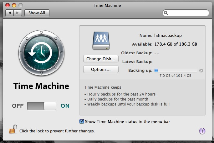 Time Machine running